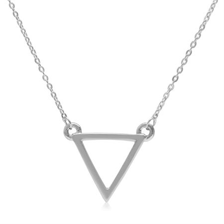 925 Sterling Silver Triangle Geometric Minimalist Pendant w/16-18 Inch Chain Necklace