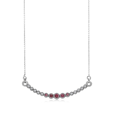 "Horizontal Curved Natural Pink Tourmaline 925 Sterling Silver Pendant w/15-16.5"" Adj. Chain Necklace"