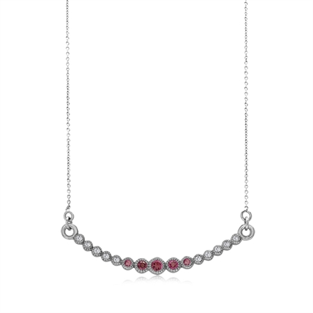 """Horizontal Curved Natural Pink Tourmaline 925 Sterling Silver Pendant w/18-19.5"""" Adj. Chain Necklace"""