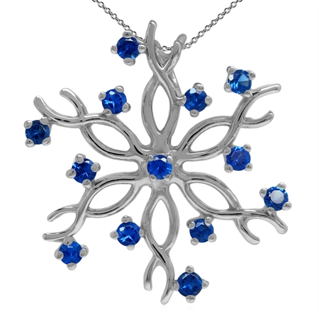 Synthetic Sapphire Blue 925 Sterling Silver Snowflake Pendant w/ 18 Inch Chain Necklace