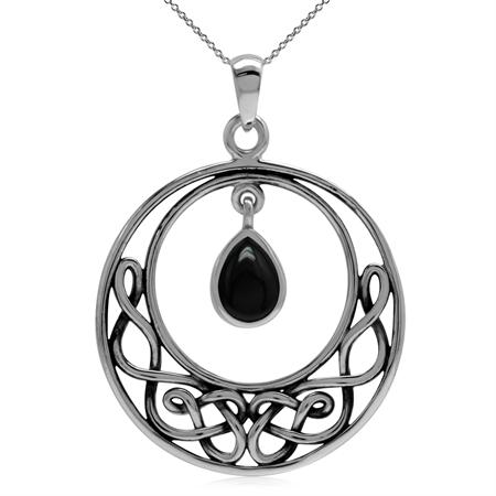 Genuine Black Onyx 925 Sterling Silver Celtic Knot Drop Dangle Pendant w/ 18 Inch Chain Necklace