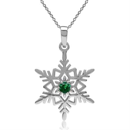 Nano Green Emerald CZ 925 Sterling Silver Snowflake Pendant 18 Inch Chain Necklace