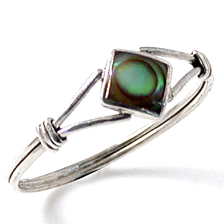 Petite Abalone/Paua Shell Inlay White Gold Plated 925 Sterling Silver Knot Ring