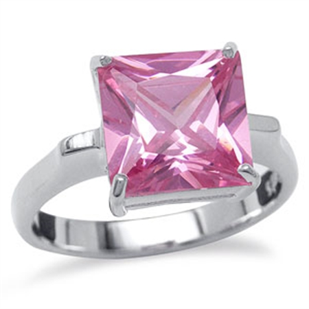 10MM SQ Sapphire Pink CZ Sterling Silver Ring