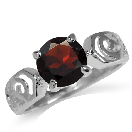 2.37ct. Natural Garnet 925 Sterling Silver Filigree Solitaire Ring