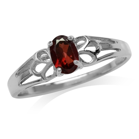 Petite Natural Garnet White Gold Plated 925 Sterling Silver Filigree Solitaire Promise Ring