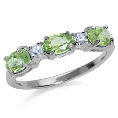 1.38ct. 3-Stone Natural Peridot & White Topaz 925 Sterling Silver Ring