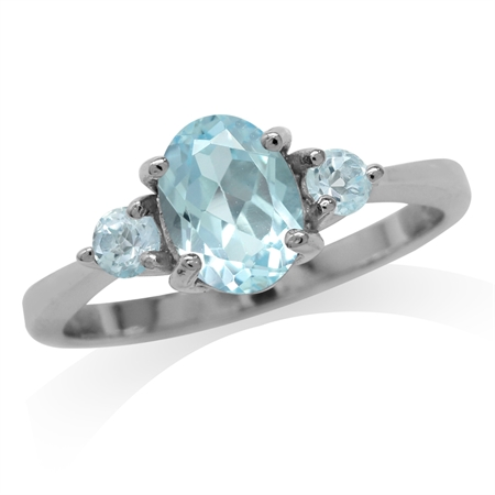 2.1ct. Genuine Blue Topaz White Gold Plated 925 Sterling Silver Engagement Ring