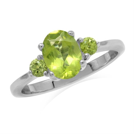 1.47ct. Natural Peridot White Gold Plated 925 Sterling Silver Engagement Ring
