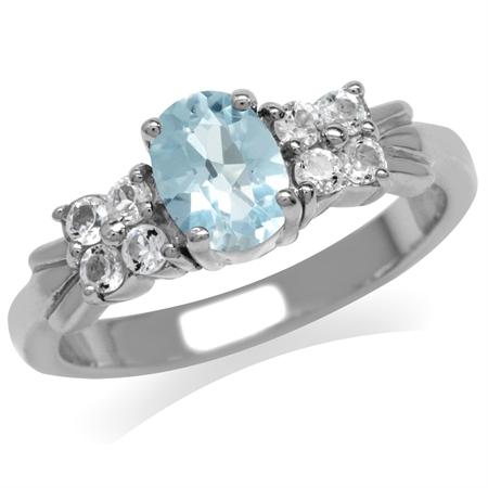 Genuine Sky Blue Topaz 925 Sterling Silver Engagement Ring
