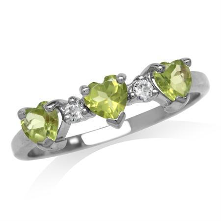 3-Stone Natural Heart Shape Peridot & White Topaz 925 Sterling Silver Ring