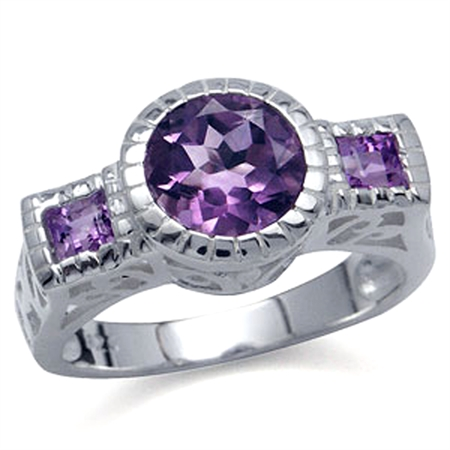 2ct. Natural Amethyst White Gold Plated 925 Sterling Silver Filigree Ring
