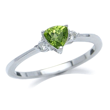 Natural Peridot & White Topaz 925 Sterling Silver Engagement Ring
