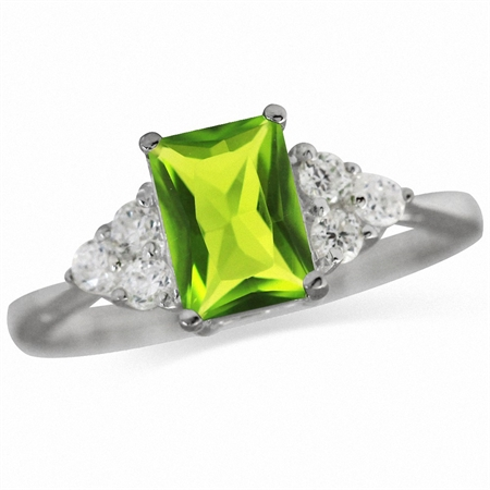 Peridot Green CZ & White CZ 925 Sterling Silver Engagement Ring