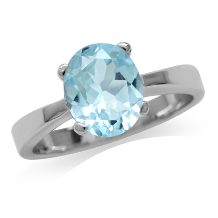 3ct. 10x8MM Genuine Oval Shape Blue Topaz 925 Sterling Silver Classic Solitaire Ring