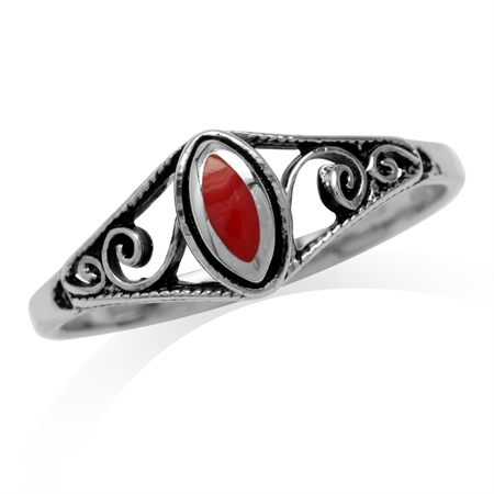Petite Created Red Coral Inlay 925 Sterling Silver Filigree Swirl & Spiral Style Ring