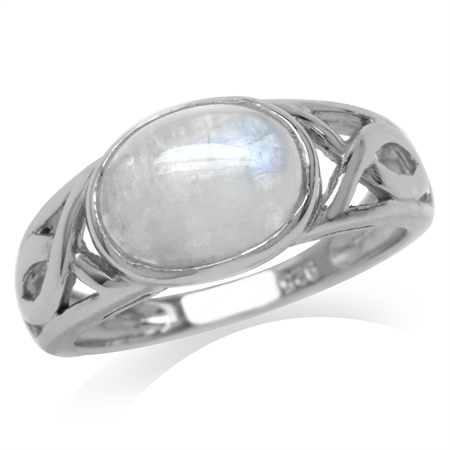 Natural Moonstone White Gold Plated 925 Sterling Silver Christian Fish Ring