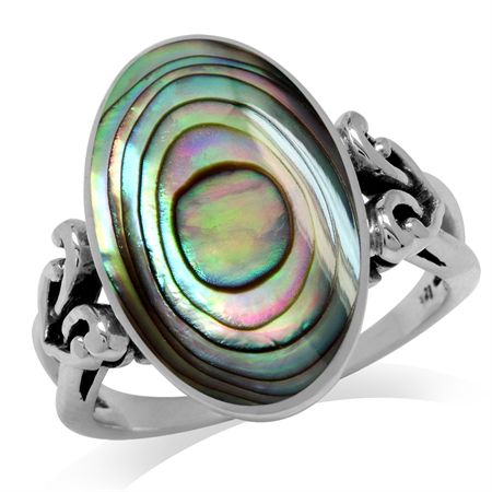 Oval Shape Abalone/Paua Shell Inlay 925 Sterling Silver Victorian Style Heart Knot Ring