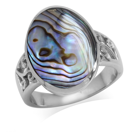 Abalone/Paua Shell Inlay White Gold Plated 925 Sterling Silver Filigree Ring