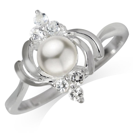 Cultured White Pearl & Topaz 925 Sterling Silver Ring