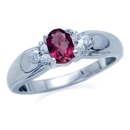 Natural Pink Tourmaline & White Topaz 925 Sterling Silver Engagement Ring
