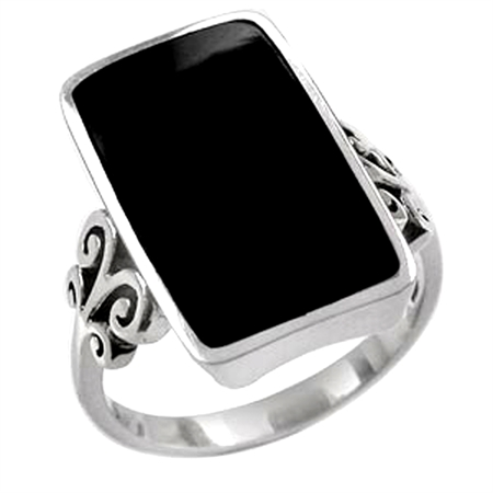 Created Black Onyx Inlay White Gold Plated 925 Sterling Silver Swirl & Spiral Ring