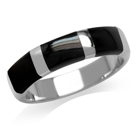 3-Stone Created Black Onyx Inlay White Gold Plated 925 Sterling Silver Ring