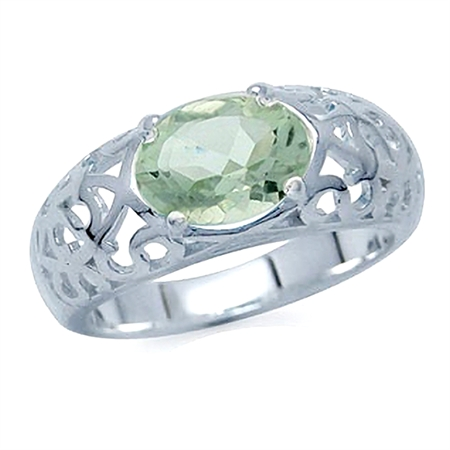 1.56ct. Natural Green Amethyst 925 Sterling Silver Filigree Ring