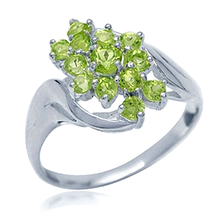Natural Peridot White Gold Plated 925 Sterling Silver Cluster Ring