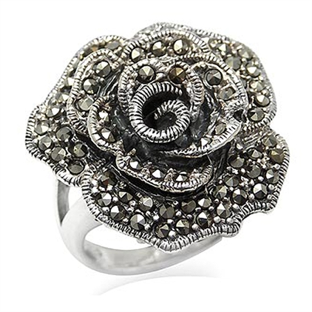 Marcasite Antique Finish 925 Sterling Silver Rose/Flower Ring