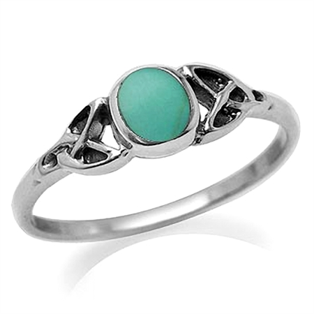 Petite Created Green Turquoise Inlay 925 Sterling Silver Celtic Knot Ring