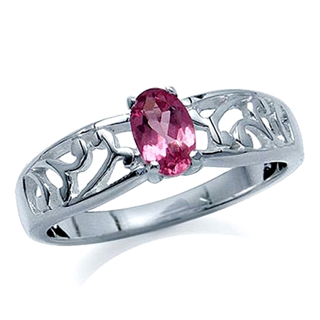 Natural Pink Tourmaline 925 Sterling Silver Filigree Solitaire Ring