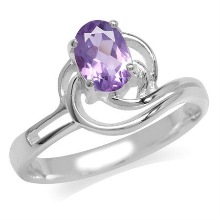 Natural Amethyst White Gold Plated 925 Sterling Silver Swirl Solitaire Ring