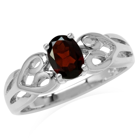 Natural Garnet White Gold Plated 925 Sterling Silver Celtic Heart Knot Solitaire Ring