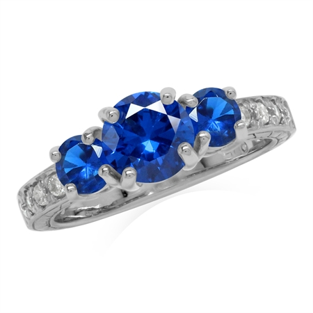 Created Blue Sapphire  925 Sterling Silver 3-Stone Anniversary Engagement Ring for Women
