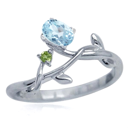 Genuine Blue Topaz & Peridot White Gold Plated 925 Sterling Silver Vine Leaf Ring