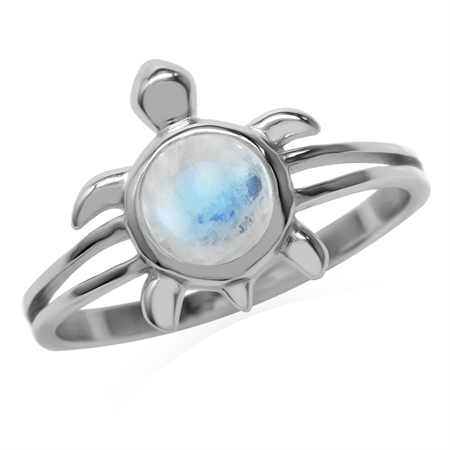 6MM Natural Round Shape Moonstone 925 Sterling Silver Turtle Fashion Casual Solitaire Ring