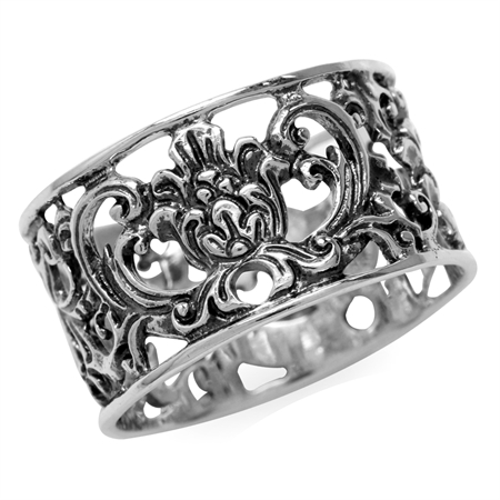 925 Sterling Silver SCROLL/FILIGREE Band Ring