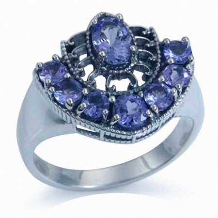 1.58ct. Genuine Tanzanite 925 Sterling Silver Filigree Ring
