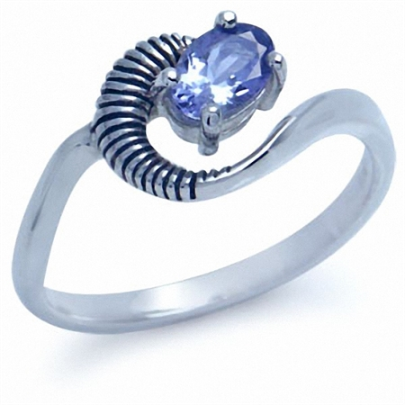 Genuine Tanzanite 925 Sterling Silver Solitaire Swirl Ring