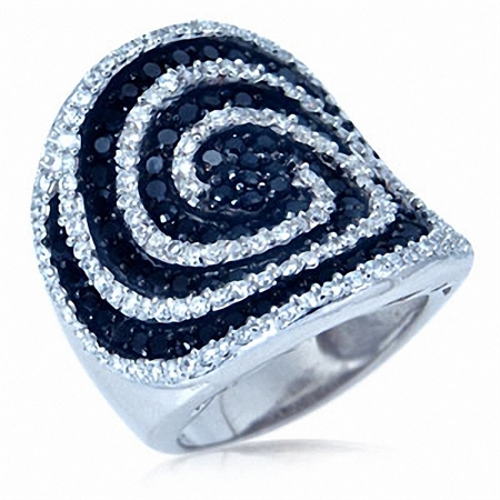 Black & White Cubic Zirconia (CZ) Sterling Silver Swirl Band Ring