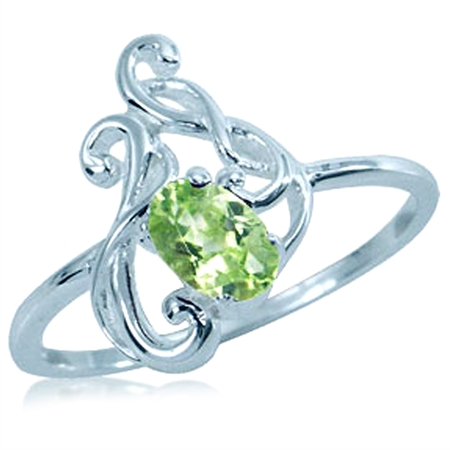 Natural Oval Shape Peridot 925 Sterling Silver Celtic Vine Ring
