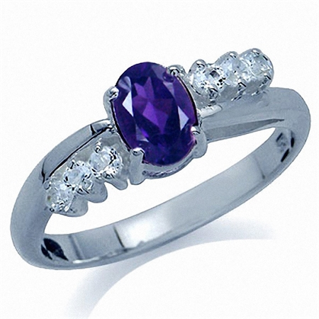 Natural African Amethyst & White Topaz 925 Sterling Silver Engagement Ring