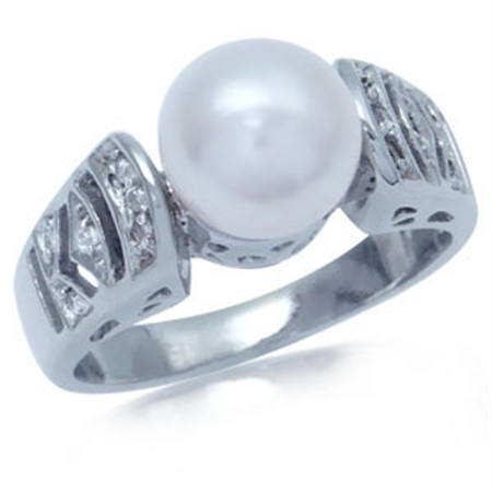 White Pearl & CZ 925 Sterling Silver Fashion Right-Hand Ring