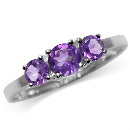 Petite 3-Stone Natural African Amethyst 925 Sterling Silver Ring