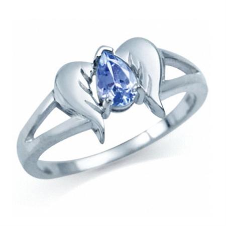 Genuine Tanzanite 925 Sterling Silver Angel Wings Ring