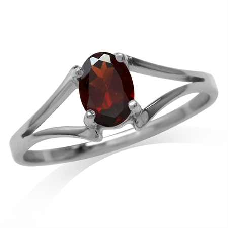 Natural Oval Shape Garnet 925 Sterling Silver Solitaire Ring