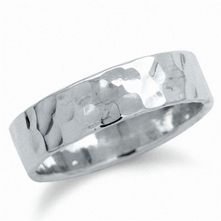6MM Hammered 925 Sterling Silver Band Ring
