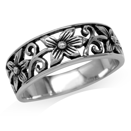 925 Sterling Silver Scroll/Filigree Flower Vintage Style Casual Band Ring