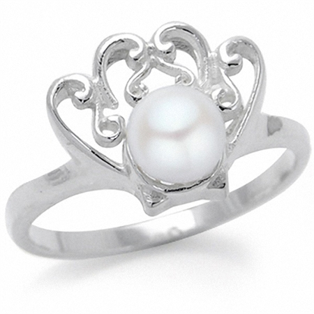 Cultured White Pearl 925 Sterling Silver Victorian Style Shell Ring